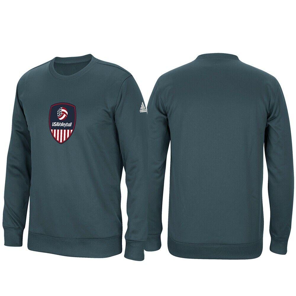 Team USA Volleyball  Adidas Mens Grey ClimaWarm Tech Fleece  Crew