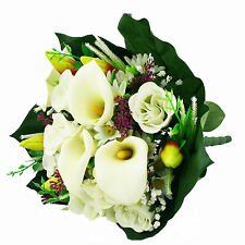 Artificial silk mixed flowers bouquet Calla Lilies Roses 40cm Ivory Cream