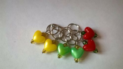 Acrylic Stitch Markers Set of 6 Large Heart in Assorted Colours