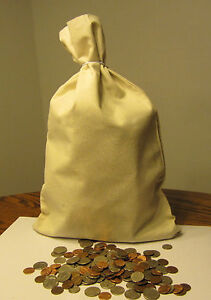 """25 CANVAS COIN BAGS  MONEY SACK  12/"""" BY 19/"""" DEPOSIT CHANGE BAGS BANK TRANSIT"""