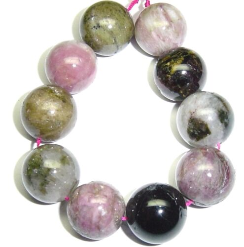 10 LARGE NATURAL Multi Color Mixed Tourmaline Round Beads 15mm K4703
