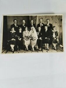 Rare-Vintage-Collectible-Real-Photo-Postcard-Wedding-Party-Newlyweds-1890-039-s
