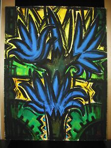 Alan-gilbert Meauce (1907-1977) Gouache 68x50 Cm Palmiers Nevers Art Brut Naif Blanc De Jade