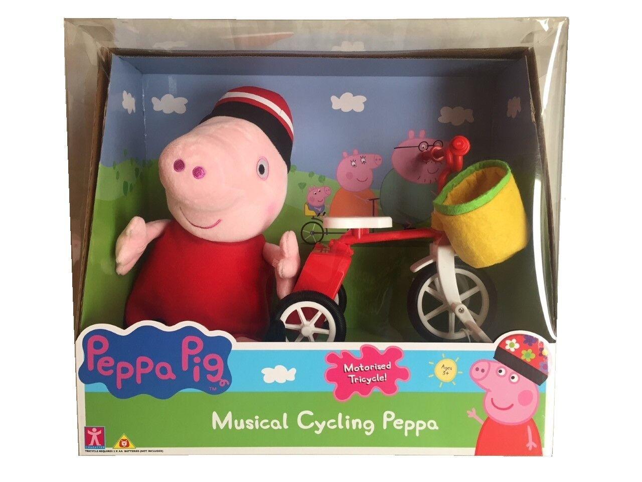 Peppa Pig di Musicale Ciclismo con Motore Triciclo & Peluche Morbido Giocattolo