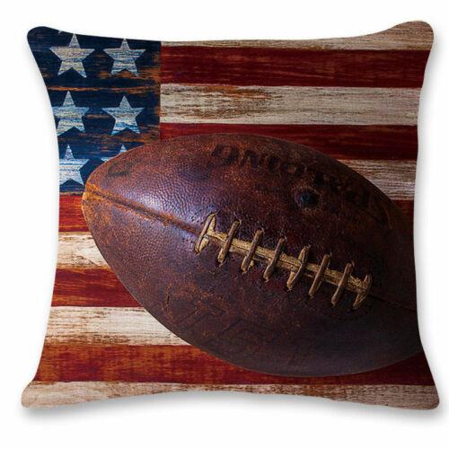 """18/"""" Cotton Linen Baseball Rugby Pillow Case Sofa Throw Cushion Cover Home Decor"""
