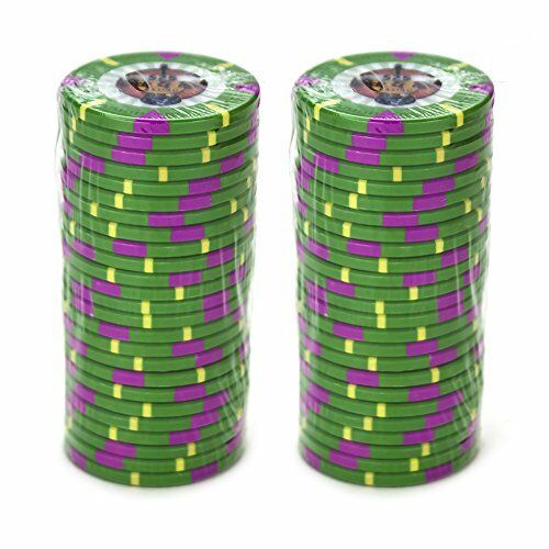 Buy 2 Get 1 Free 100 Green $25 Rock /& Roll 13.5g Clay Poker Chips New