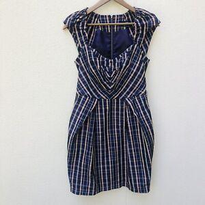 CUE WearTo Work Purple Stripe Size 10 Career Wear Dress Colourful Fitted EC