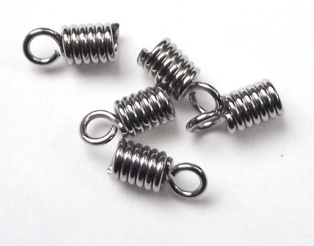 20 stainless steel spring coil cord ends 2mm hole won't tarnish fit 1.8mm cord