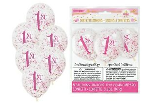 6 x 1ST BIRTHDAY Clear Girl Party Decorations 12