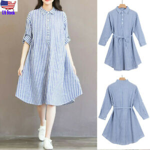 Womens-Pregnancy-Casual-Loose-Striped-Dress-Long-Sleeve-Sundress-Maternity-Cloth
