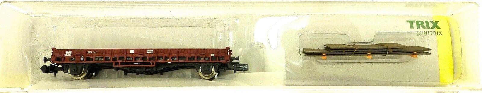 Minitrix 15411-03 Wagon Plat Stake car Trix N 1 160 Neuf Emballage Scellé HS3 Å