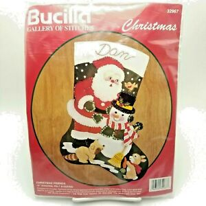 Bucilla Felt Applique Christmas Friends Stocking Santa Snowman 32967 15 inch