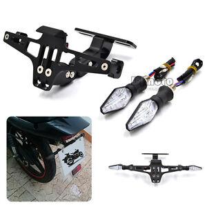 Motorcycle Universal License Plate Bracket Led Turn Signal Tail