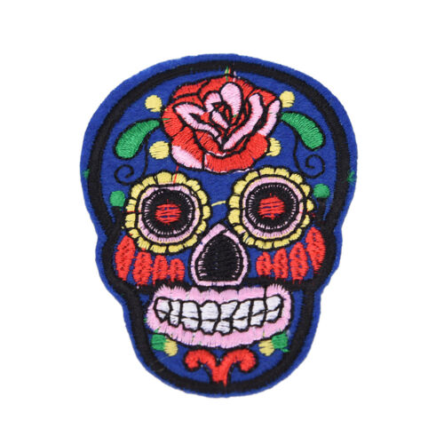 8Pcs iron on patches for clothes sew-on embroidered patch applique rose skull Lo
