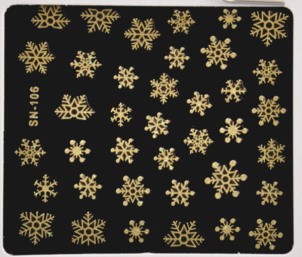 Nice Winter Christmas 3D Nail Art Stickers Shinning Gold Snowflakes Nail Decals