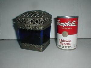 Antique Victorian BLUE COBALT Square Glass Box Mustard Biscuit Jar SILVER SKIRT
