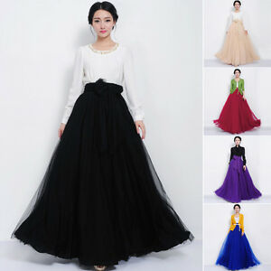 Women Tulle Mesh Full Skirt Elastic High Waist 3 Layers Pleated ...