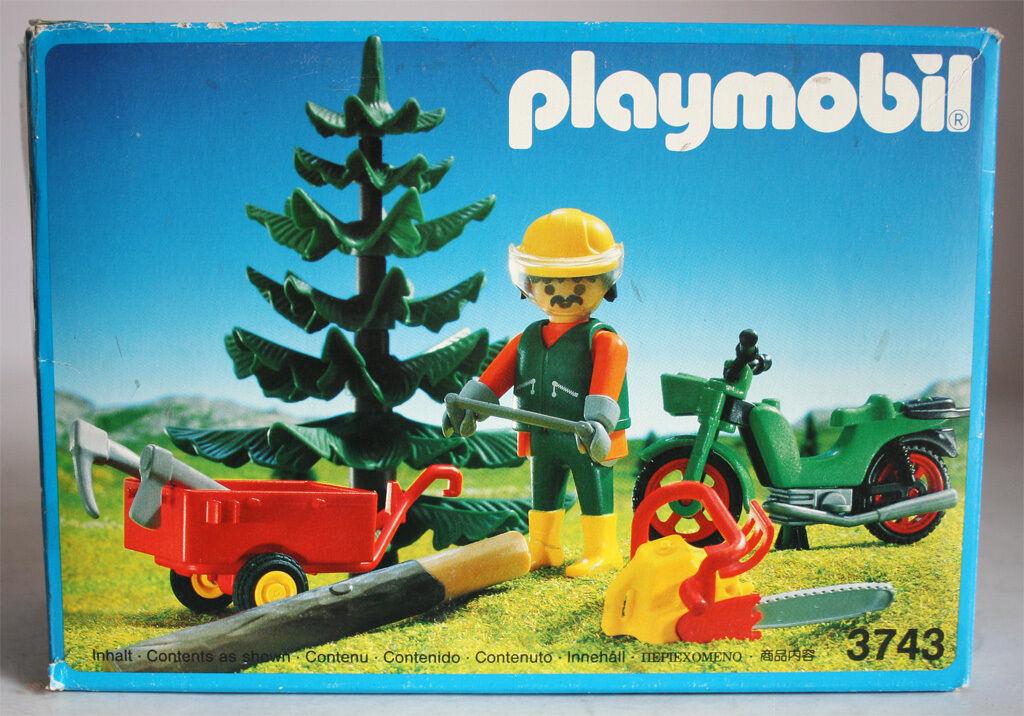 Très Rare Vintage 1992 Playmobil 3743 bûcheron forêt NEW Comme neuf IN BOX