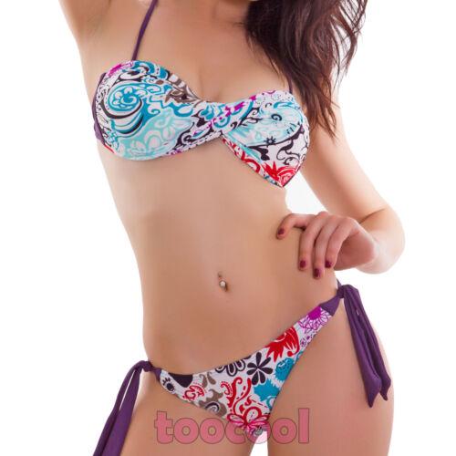 Bikini costume donna mare brasiliana swimwear due pezzi fascia incrociata B0602