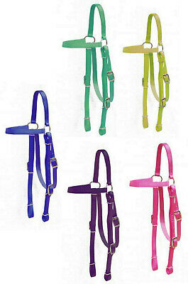 Nylon Headstall Bridle Curb Chain Strap Royal Turquoise Blue Burgandy Purple