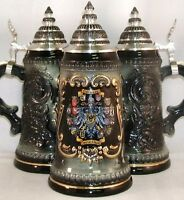Black 16 German States Shields German Beer Stein .5l One Mug Made In Germany