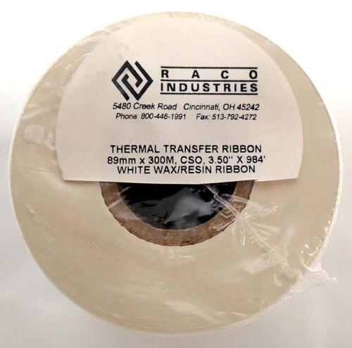 "RACO THERMAL TRANSFER RIBBON 89mm X 300m CSO 3.5/"" x 984/' WHITE WAX//RESIN RIBBON"