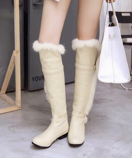 Donna Faux Fur Over The Knee Winter Snow Stivali Buckle Strap Warm Shoes SZ F783