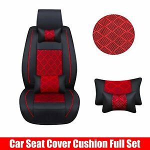 Front + Rear 5-Seat PU Leather SUV Car Seat Cover Cooling Mesh With Pillows