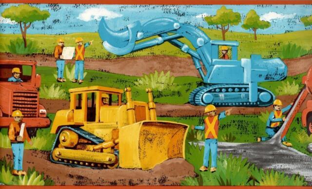 Transportation Constructions Wallpaper Border Boy room decor car truck tractor