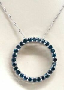 18K-White-Blue-Diamond-1-15ct-Ladies-Circle-Of-Life-Pendant-Necklace-W-Chain