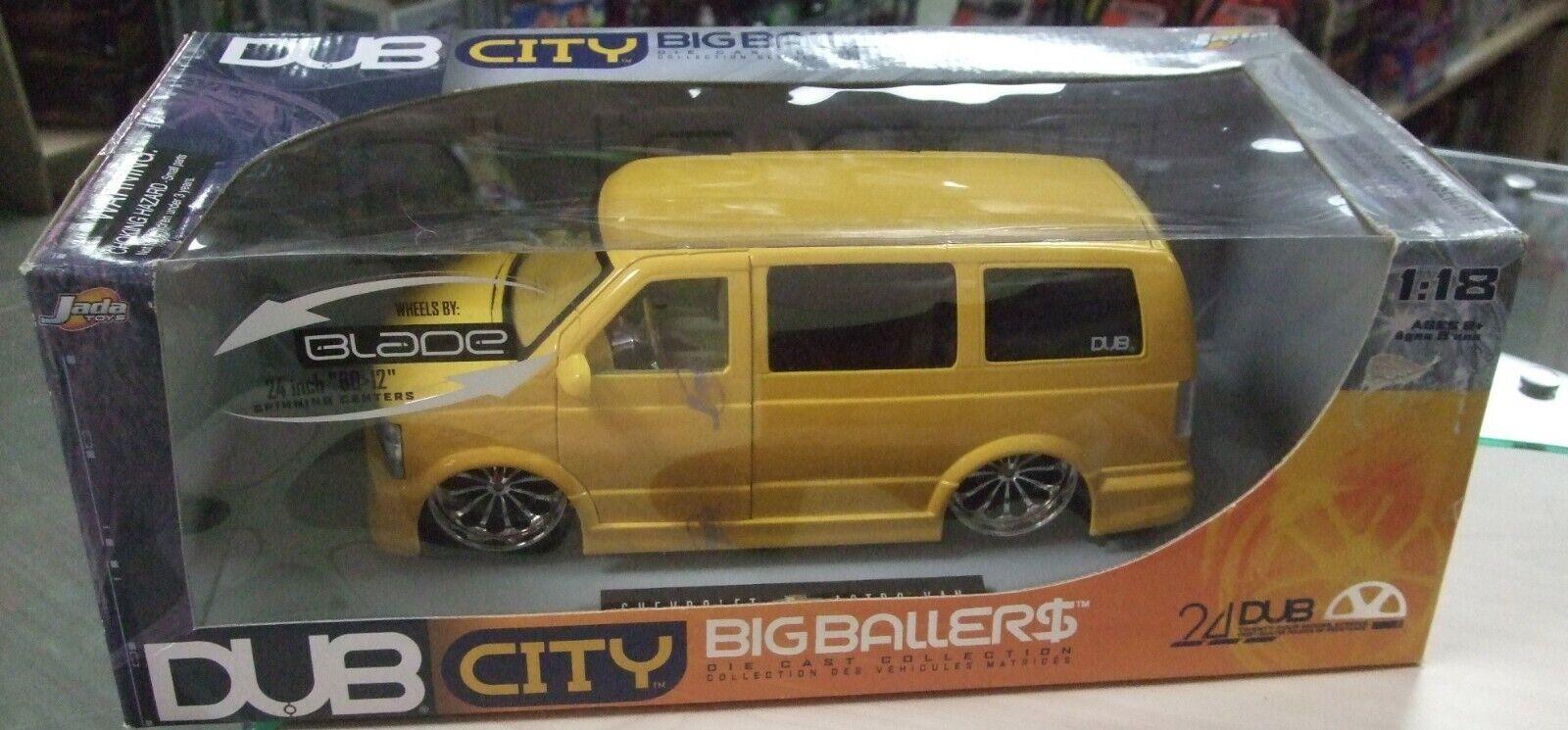 Chevrolet Astro Van gul skala 1 18 Big bollers Dub City av Jada -leksaker