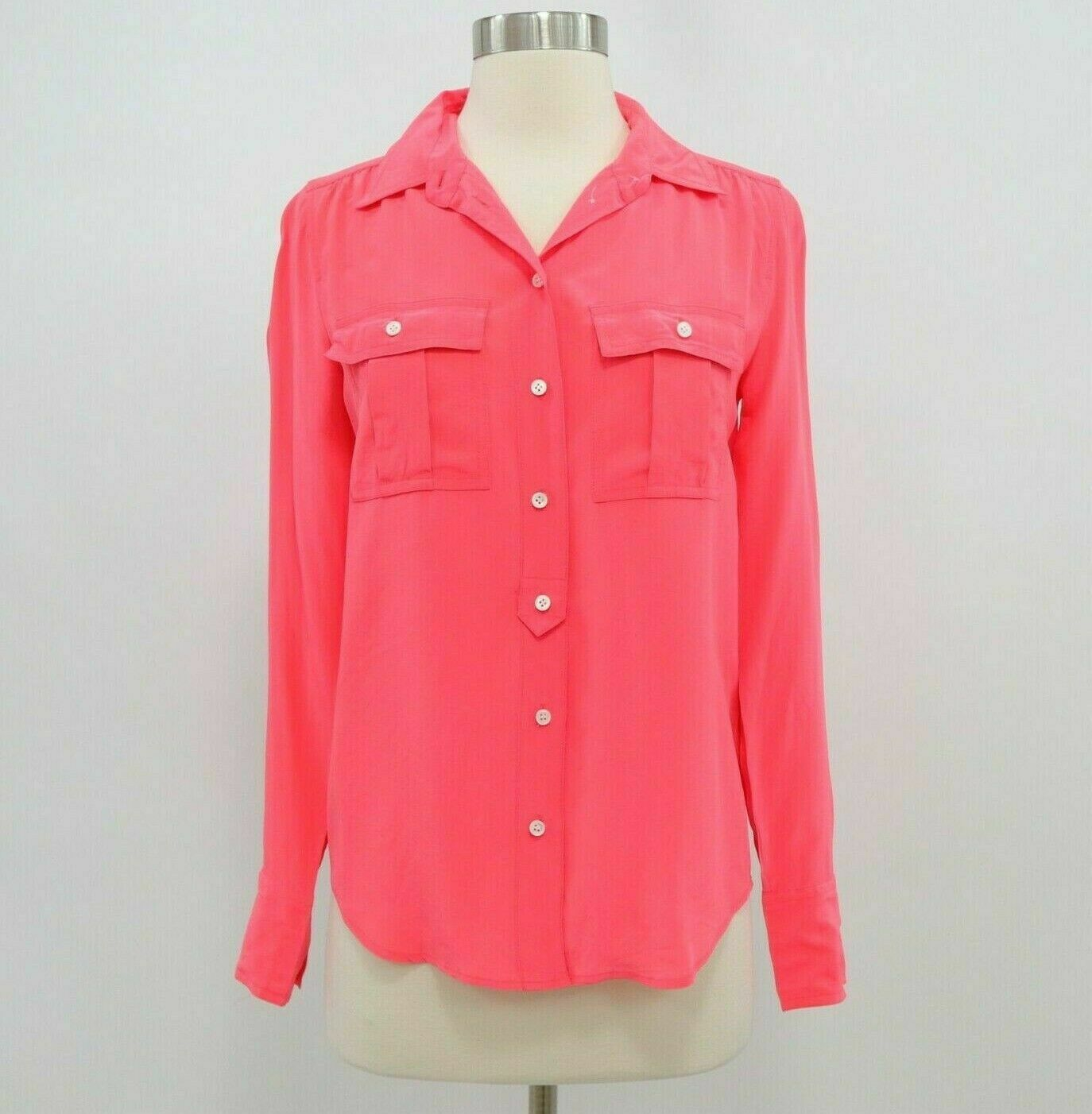 J.CREW Blouse Shirt Top Womens 100% Silk Blythe Sz 0 Neon Coral Red