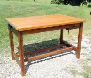 ... Hamilton Oak Drafting Table Vintage 60 By 39