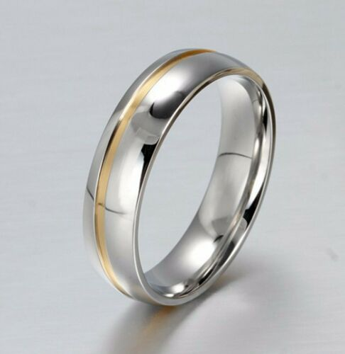 Men Gold and Silver 316L Stainless Steel Silver Engagement //Wedding Ring