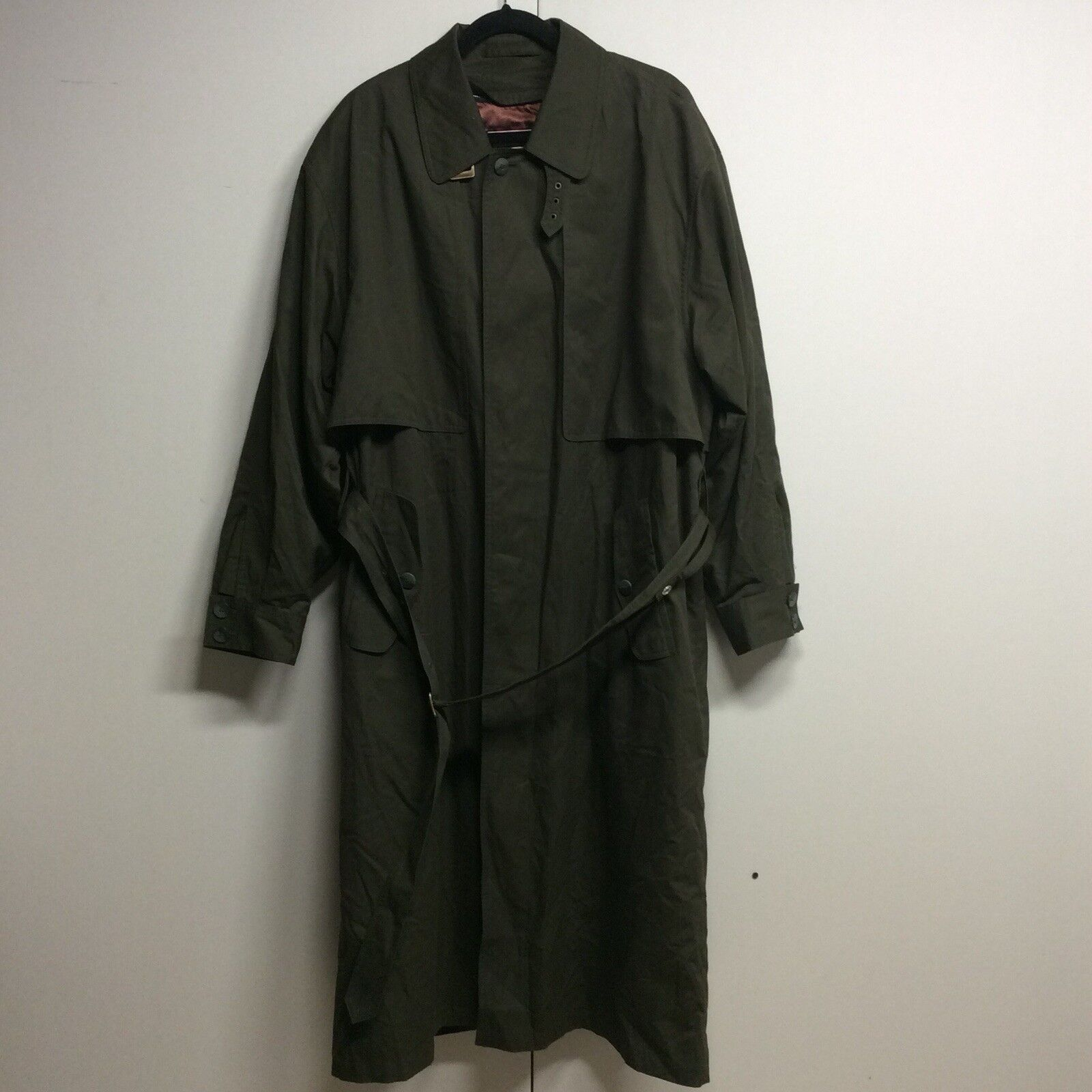 London Fog Towne Men's Trench Coat Green Long Button Down Size 42
