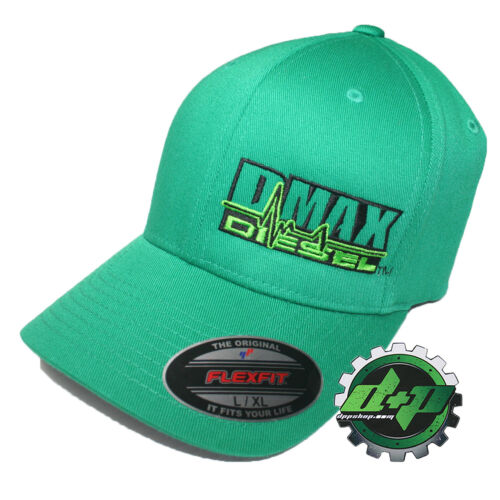 L//XL DMAX Diesel Flexfit fitted trucker GREEN ball cap hat Chevy Duramax