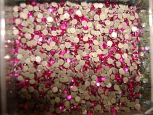 144 Hot Fix Iron On Rhinestones//Round//craft//SS6 2mm//Fuchsia//FREE SHIP-Hot Pink