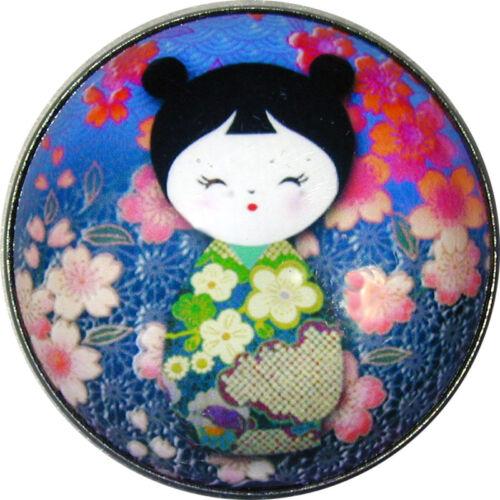"Japanese Kokeshi Doll Crystal Dome Button 1 /& 3//8/"" KD15 FREE US SHIPPING"