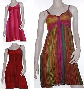 Crinkle-Dress-Boho-Gypsy-Beach-Surf-Vivid-Sun-Size-8-10-Women-Pink-Green-Red