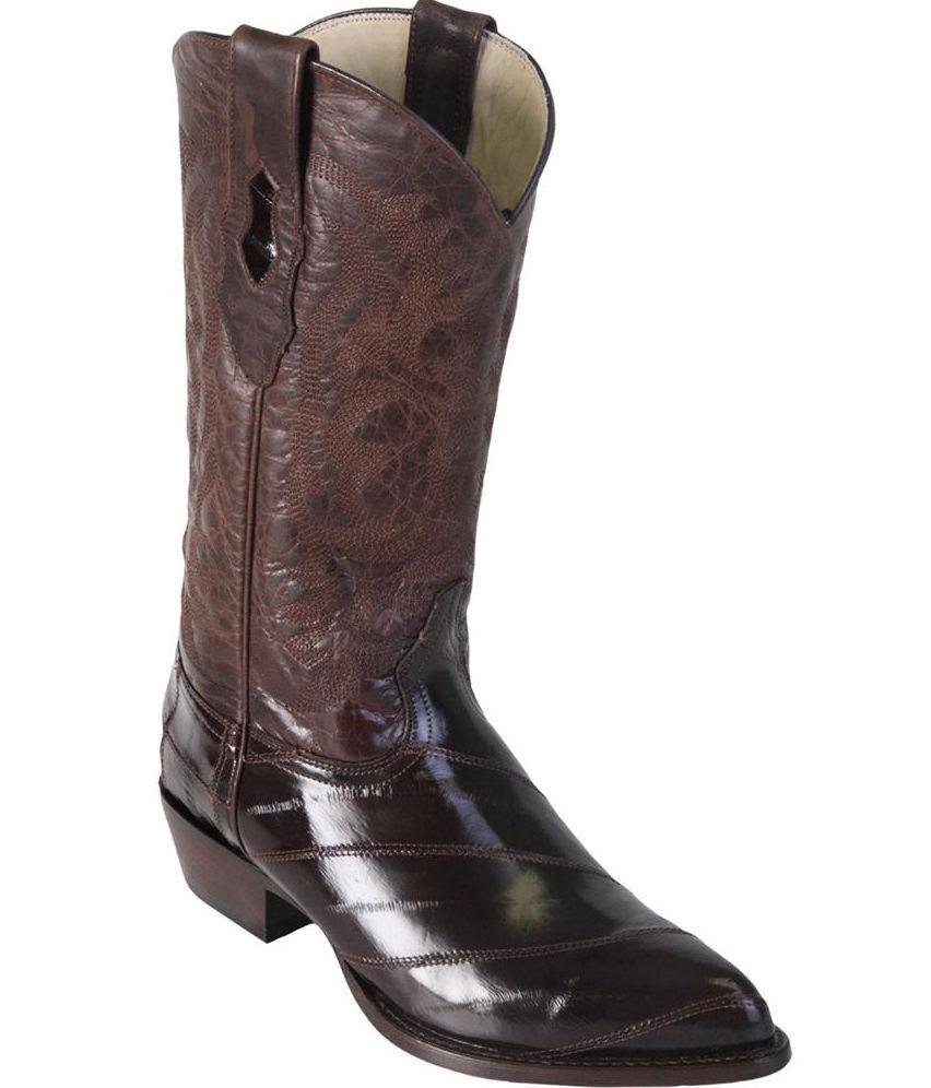 Los altos Anguila Western Cowboy Hombres Genuino Marrón Bota J-Toe (EE +) 990807