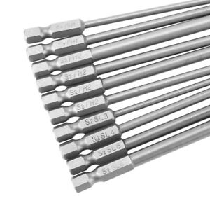 10pcs-1-4-Inch-Hex-Shank-Long-Magnetic-BST-Screwdriver-Bits-Set-100mm-Power-head