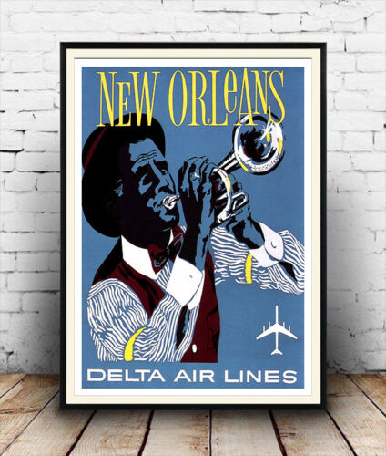 Vintage American airline Travel advert Poster reproduction. New Orleans