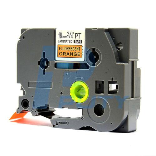 2PK Black on Fluorescent Orange Tapes TZ-B41 TZe-B41 Compatible for P-touch 18mm