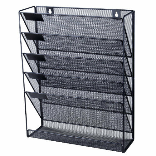office files organizer magazine storage rack wall mounted metal paper holder new 762137341615 ebay. Black Bedroom Furniture Sets. Home Design Ideas