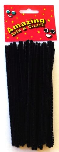 50pcs Amazing Arts and Crafts Black Pipe Cleaners Chenille Stems 15cm x 4mm