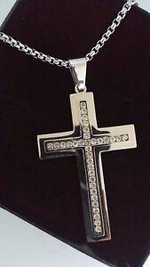 Da-Uomo-Personalizzata-di-grandi-dimensioni-color-argento-Croce-Collana-Incisione-Gratis-18-30-034