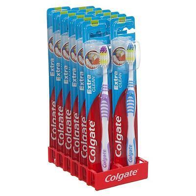 12 x Colgate Extra Clean Toothbrush Medium - Multi Coloured