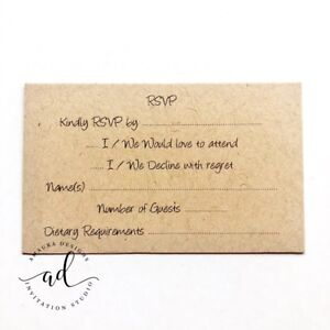 Details About 10 X Kraft Rsvp Reply Cards Textured Kraft Card Wedding Invitations Inserts