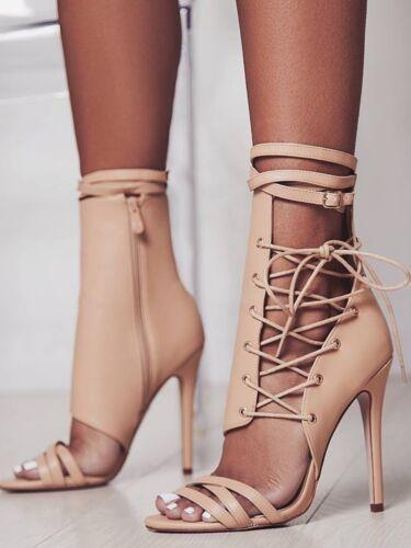Nouveau Débardeur strapes Boucle Stilettos Talon Haut Creux Out Romains Sandales Chaussures