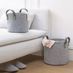Felt-Material-Cylinder-Sundries-Collect-Storage-Basket-Lightweight-And-Stur-S4G2